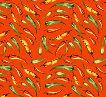 Watercolor seamless hand drawn pattern with red hot chilli peppers.  by Mehendra
