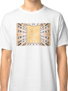 Bottom view to vintage old buildings Classic T-Shirt