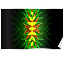 Dark TDark Green Yellow Neo Geo Abstract Poster