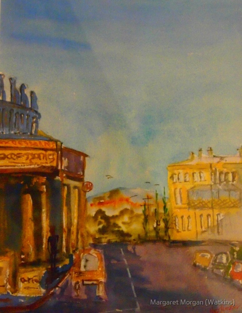 Streetscape Lancefield (watercolour) Victoria Australia by Margaret Morgan (Watkins)