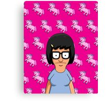 Tina Belcher Unicorn Pattern Hot Pink Canvas Print