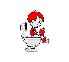 loo sitting wc little boy reading Photographic Print