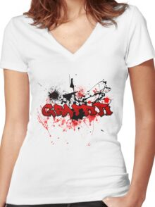 Graffiti theme and abstract background Women's Fitted V-Neck T-Shirt