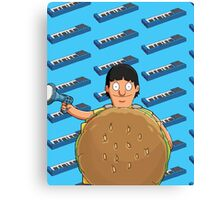 Gene Belcher Keyboard Pattern Blue Canvas Print