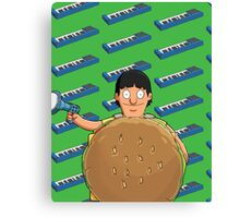 Gene Belcher Keyboard Pattern Green Canvas Print