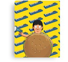 Gene Belcher Keyboard Pattern Yellow Canvas Print