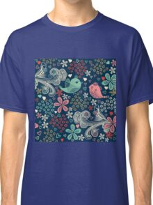 colorful floral pattern in doodle style Classic T-Shirt