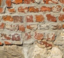 Weathered stained old brick wall background Sticker