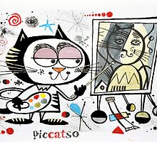 Cartoon cat painting picasso style self portrait by MrCreator