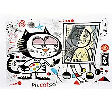 Cartoon cat painting picasso style self portrait Photographic Print