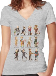 The Twelve Doctors of Christmas Women's Fitted V-Neck T-Shirt