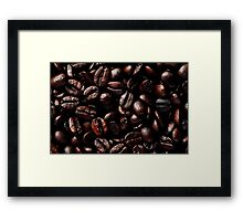 Dark Brown Roasted Coffee Beans Texture Framed Print