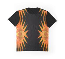 Bright Orange Yellow Star Burst Neo Geo Abstract Graphic T-Shirt