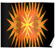Bright Orange Yellow Star Burst Neo Geo Abstract Poster