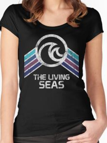 The Living Seas Distressed Logo in Vintage Retr Style Women's Fitted Scoop T-Shirt