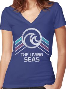 The Living Seas Distressed Logo in Vintage Retr Style Women's Fitted V-Neck T-Shirt