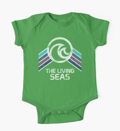 The Living Seas Distressed Logo in Vintage Retr Style One Piece - Short Sleeve