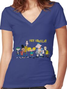 hey arnold Women's Fitted V-Neck T-Shirt
