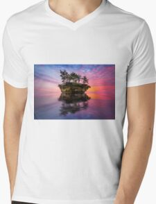 Island Sunset Mens V-Neck T-Shirt