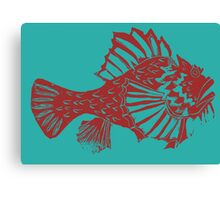 THE RED SCORPION FISH ( RED ON TOURQUOISE ) Canvas Print