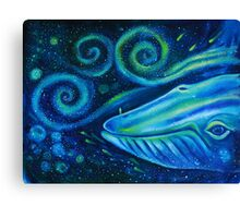 Big blue whale into the space of Universe with silhouette of man. Canvas Print