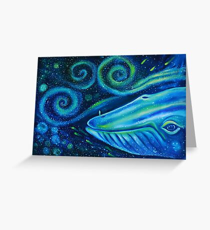 Big blue whale into the space of Universe with silhouette of man. Greeting Card