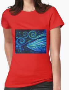 Big blue whale into the space of Universe with silhouette of man. Womens Fitted T-Shirt