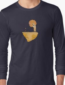 Wild and Brown African Safari Lion Float in Blue Sky on Mountain  Long Sleeve T-Shirt