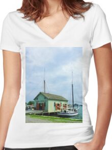 Boat By Oyster Shack Women's Fitted V-Neck T-Shirt