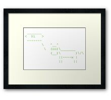 Cowsay Hi - green Framed Print