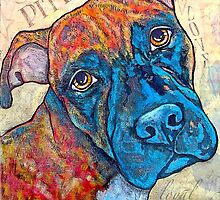 Brindle Pitbull Pop Art by StephanieGerace