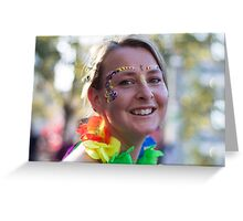 Girl with flowers on her face Greeting Card