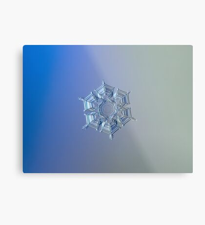 Icy relief, real snowflake macro photo Metal Print
