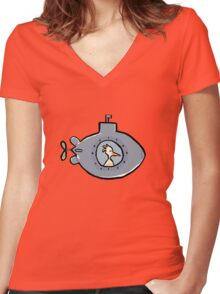 submarine Women's Fitted V-Neck T-Shirt