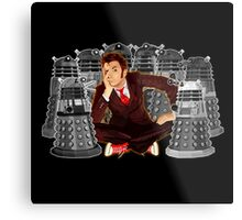 Time traveller captured by mini droid robot Metal Print