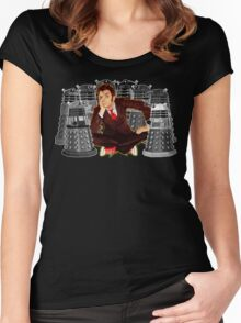 Time traveller captured by mini droid robot Women's Fitted Scoop T-Shirt