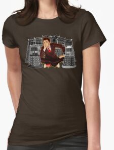 Time traveller captured by mini droid robot Womens Fitted T-Shirt
