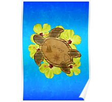 Honu Hawaiian Nautical Map Poster