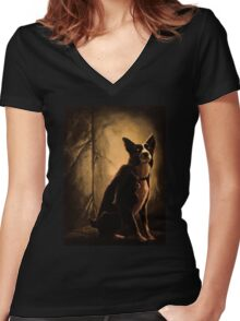border collie Women's Fitted V-Neck T-Shirt