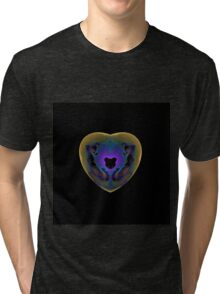 High res fractal heart blues and purples Tri-blend T-Shirt