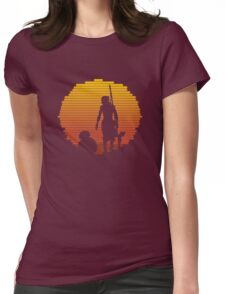 BB-8 & Rey : Jakku Sunset Womens Fitted T-Shirt