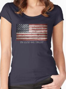 In God We Trust American Flag Women's Fitted Scoop T-Shirt