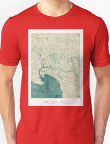 Melbourne Map Blue Vintage T-Shirt