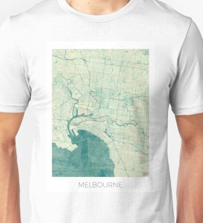 Melbourne Map Blue Vintage Unisex T-Shirt