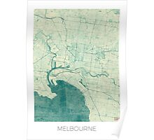 Melbourne Map Blue Vintage Poster