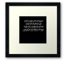 All That Is Gold Does Not Glitter (Tengwar) Framed Print