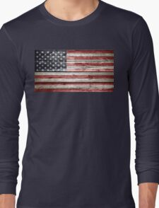 American Flag on Distressed Wood T-Shirt