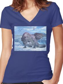 Ice Dragon Women's Fitted V-Neck T-Shirt