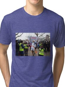 Clive Lewis MP wins the Rehab Parliamentary Pancake Race 2016 Tri-blend T-Shirt