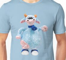 Happy Smiling Pink Blue Cow Unisex T-Shirt